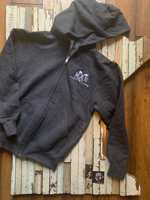 Youth Embroidered MN Hockey Sticks Zip-Up