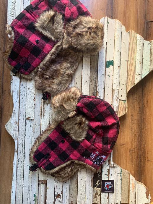 Pink Plaid Trapper Hat