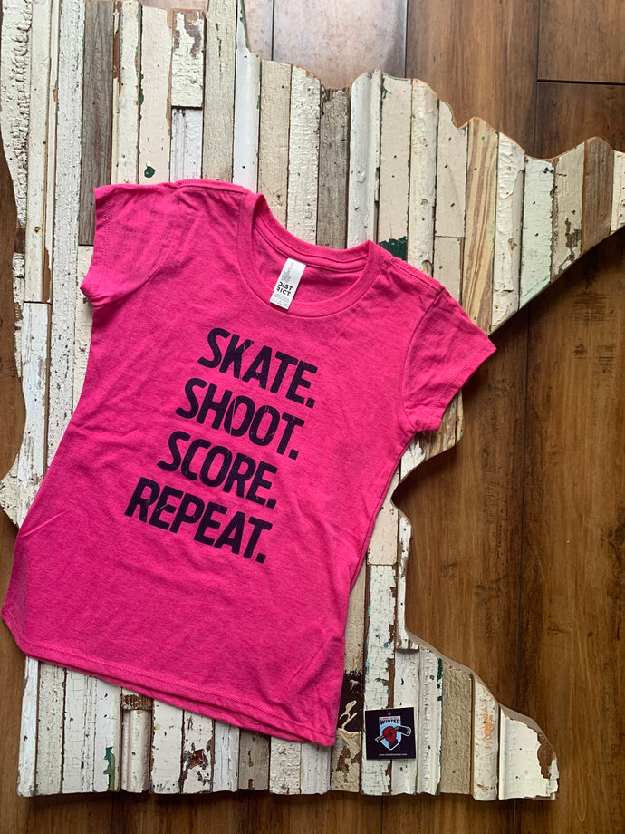 Youth Girls Skate Shoot Score Short Sleeve