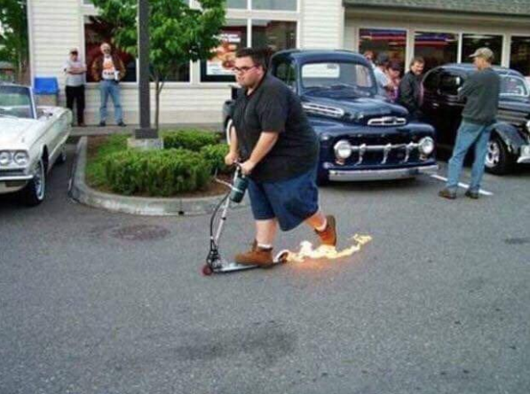 Flammable wheels to make people who ride scooters look even more cool. Doubles up as a form of contraception.
