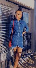 "Load image into Gallery viewer, ""Lucky You"" Denim Dress"