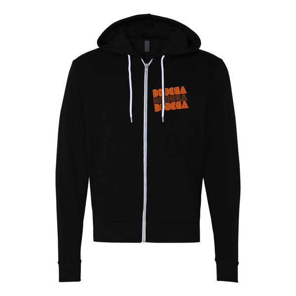 Bodega Retro Orange Unisex Zip Hoodie
