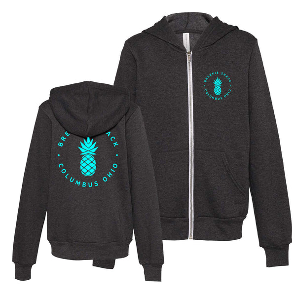 Youth Brekkie Shack Logo Teal Unisex Zip Up