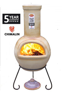 UK Gardens 105cm Large Chimenea Glazed Cappucino with Lid and Stand