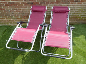 SET OF 2 Red Garden Sun Lounger Relaxer Recliner Garden Chairs
