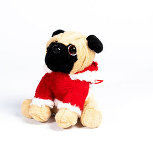UK Gardens 20cm Red Hanging Plush Pugs Soft Toy Home Decoration