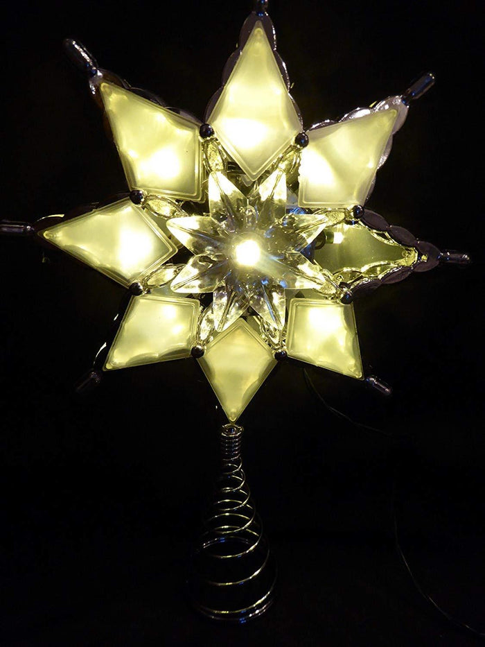 27cm Large Battery Operated Flower Star Christmas Tree Topper With LED Lights