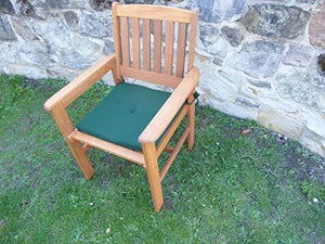 UK-Gardens Wooden Garden Dining Chair Armchair With GREEN Cushion