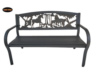 UK Gardens 127cm Black Steel Framed Cast Iron Outdoor Bench with Unicorn