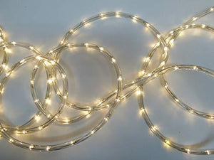 Christmas Decorations - 10m Warm White LED Rope Light With Transformer - Indoor or Outdoor Ropelight Home Decoration