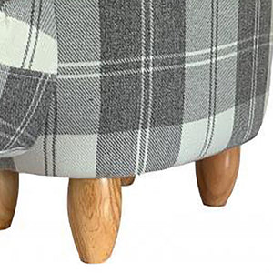 UK Gardens 61cm Grey Tartan Printed Rounded Cow Animal Footstool