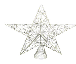 30cm Silver Swirls Star Christmas Tree Topper Decoration