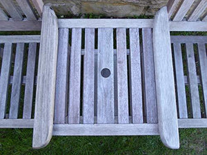UK-Gardens Heavy Duty Grey Wooden Garden Love Seat Bench With Parasol Hole and Table (Wood, Grey)