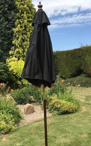 Small Hardwood 2m Black Pulley Wooden Garden Parasol Umbrella