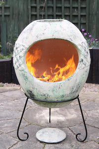 UK-Gardens 90cm Celtic Range Mexican Outdoor Chimenea Clay Ellipse Shaped