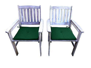 UK-Gardens SET OF 2 Antique Grey Wooden Garden Dining Chair Armchairs with GREEN Cushions