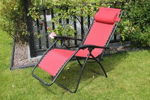 Red Garden Recliner Chair Zero Gravity