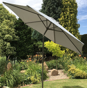 Large 2m Light Grey Crank And Tilt Garden Parasol Umbrella 200cm  Metal Pole