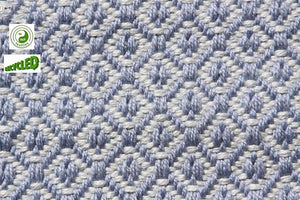 UK Gardens 150cm Diamond Grey Blue Rug Recycled Textiles