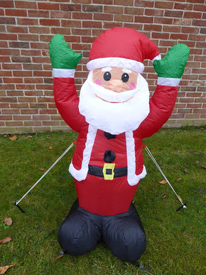 UK-Gardens Inflatable Father Christmas Santa Decoration 120cm Tall With 4 LED Lights Indoor Outdoor Use