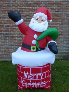 UK-Gardens Large Inflatable Santa Father Christmas Up Chimney Decoration 180cm 6ft Tall With 4 LED Lights Indoor Outdoor Use