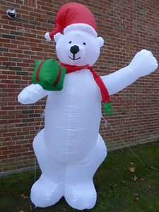 UK-Gardens Large Inflatable Polar Bear Christmas Decoration 240cm 8ft Tall With 4 LED Lights Indoor Outdoor Use