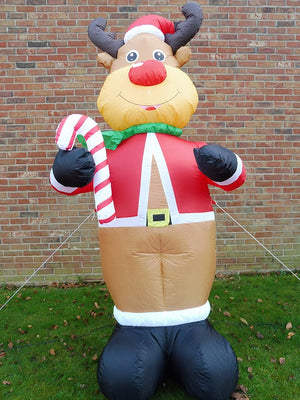 UK-Gardens Large Christmas Inflatable Reindeer Decoration 240cm 8ft Tall With 4 LED Lights Indoor Outdoor Use