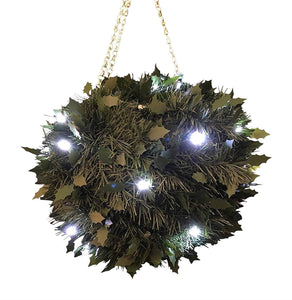 27cm Light Up Green Holly Artificial Topiary Ball Hanging Christmas Decoration