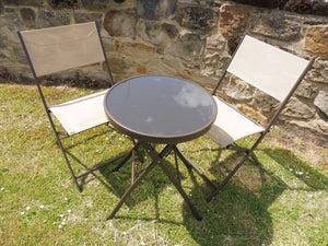 Brown 3 Piece Metal Patio Garden Bistro Set For 2 Folding Chairs And Table