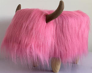 UK Gardens 61cm Pink Highland Cow Synthetic Fur Footstool Furniture
