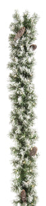 UK Gardens 180cm Bo Frosted Christmas Garland Decoration Wreath Cones 80 Lights