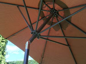 Large 3m Brown Crank And Tilt Garden Parasol Umbrella 300cm  Metal Pole