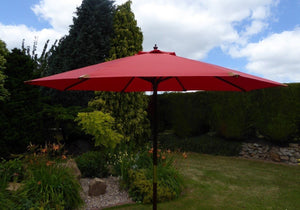 Large Hardwood 3m Terracotta Wooden Pulley Garden Parasol Umbrella