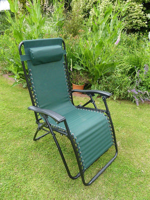 Green Garden Sun Lounger Relaxer Recliner Garden Chair