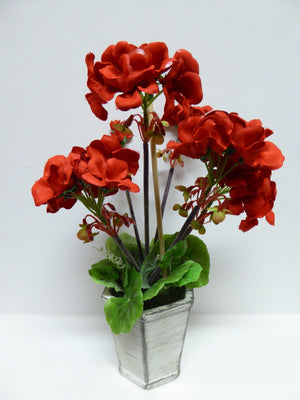 30cm Red Geranium Flowers in A Shabby Chic Grey Pot