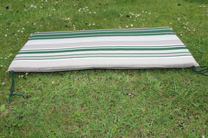Green Stripe 3 Seater Garden Bench Cushion With Valance