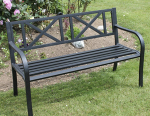 Large Black 3 Seater Metal Garden Bench  Cross Pattern Back