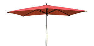 Large Hardwood 2m x 3m Pulley Garden Parasol - Red