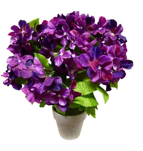 40cm Artificial Purple Hydrangea Plant In A White Pot