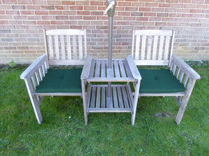 UK-Gardens Heavy Duty Grey Wooden Garden Love Seat Bench With Parasol Hole and Table (Love Seat GREEN Cushions)