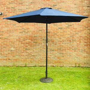 Large 2m Navy Blue Crank And Tilt Garden Parasol Umbrella 200cm  Metal Pole