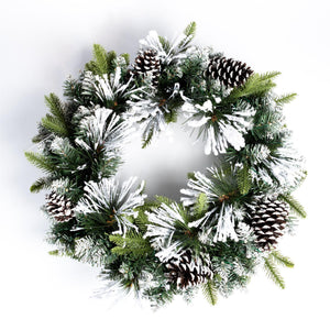 UK Gardens 60cm Bo Flocked Christmas Garland Decoration Wreath Cones 60 Lights