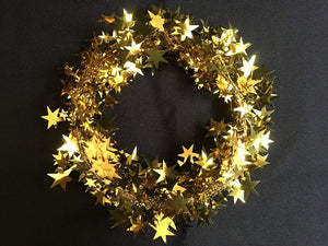 750cm GOLD  Wire Christmas Garland with Stars - Christmas Tree Decoration
