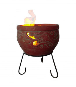 UK-Gardens 28cm Outdoor Patio Mexican Clay Chimenea Firepit Range in Red