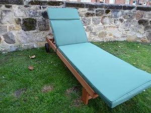 UK-Gardens Wooden Wheeled Sun Lounger with Slide out Table and Cushion (Green)