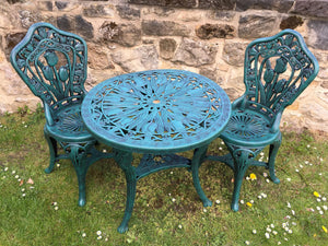 Green Resin 70cm Round Garden Bistro Set Patio Dining