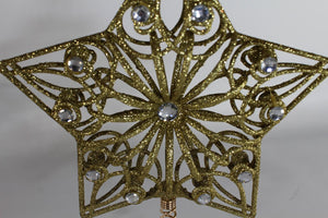 GOLD 27cm Jewelled Tree Topper Star