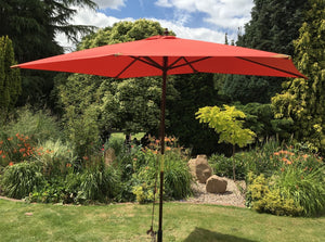 Large Hardwood 2m x 3m Terracotta Wooden Pulley Garden Parasol Umbrella