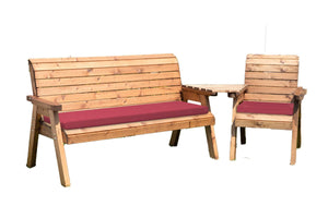 UK-Gardens 3 Seat Bench and Armchair Set with Angled Tray Burgundy Cushions - DELIVERY MID-END MAY 2021