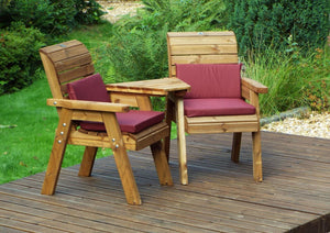 Set of 2 Armchairs with Angled Tray and Burgundy Cushions | UK-Gardens.co.uk